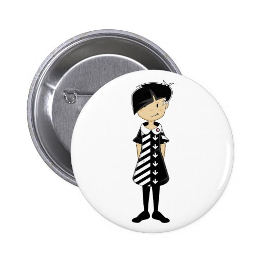Sixties Mod Girl in Retro Dress Button