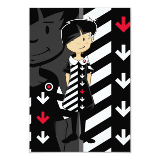 Sixties Mod Girl in Retro Dress RSVP Card 9 Cm X 13 Cm Invitation Card
