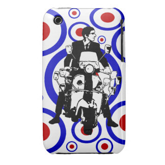 Sixties Mod scooter boy on retro circles Case-Mate iPhone 3 Cases