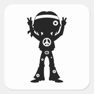 Sixties Peace Hippie Silhouette Square Sticker
