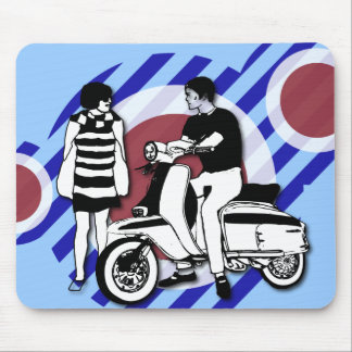 Sixties scooter boy and girl Vintage Scooter Mouse Mat