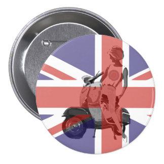 Sixties scooter girl art 7.5 cm round badge