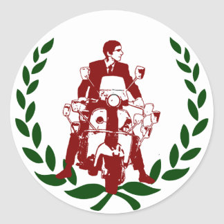 Sixties Scooter Rider Italia Round Sticker