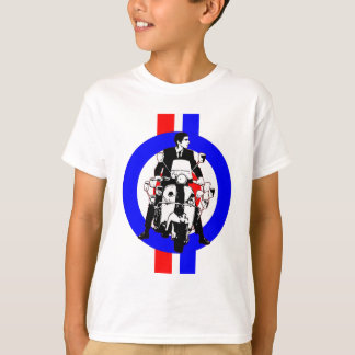 Sixties Scooter Rider on  target and stripes T-Shirt