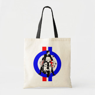 Sixties Scooter Rider on  target and stripes Tote Bag