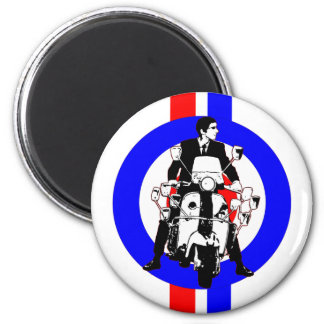 Sixties Scooter Rideron  target and stripes 6 Cm Round Magnet