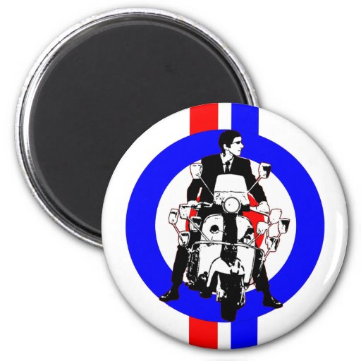 Sixties Scooter Rideron  target and stripes Fridge Magnet