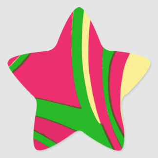 Sixties Style Abstract Design Star Sticker