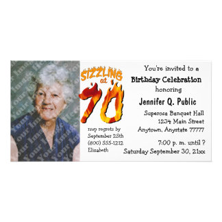 Sizzling At 70 Birthday Party Photo Invitation Photo Card Template