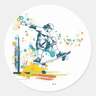 sk8er skateboarder vector round sticker