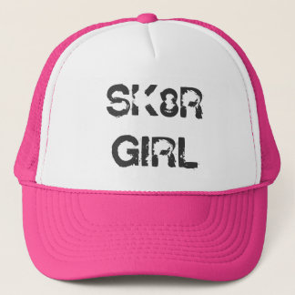 SK8R GIRL Skater Skateboard Pink Trucker Hat