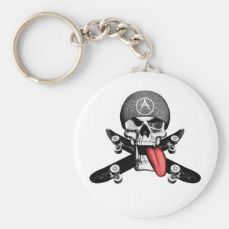 Sk8tr Skull Basic Round Button Key Ring
