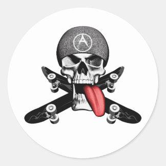 Sk8tr Skull Round Sticker