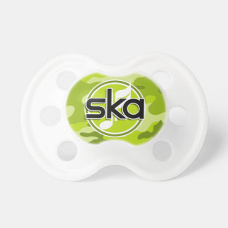 Ska bright green camo camouflage baby pacifiers