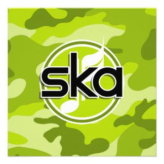 Ska; bright green camo, camouflage personalized invitations