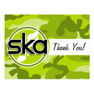 Ska; bright green camo, camouflage postcard