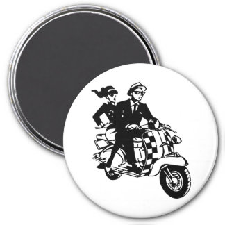 Ska Couple on Scooter 7.5 Cm Round Magnet