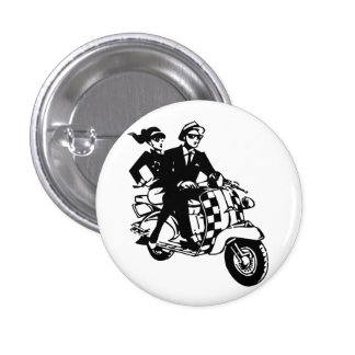 Ska Couple on Scooter Pinback Buttons