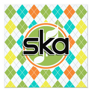 Ska Music; Colorful Argyle Pattern 13 Cm X 13 Cm Square Invitation Card