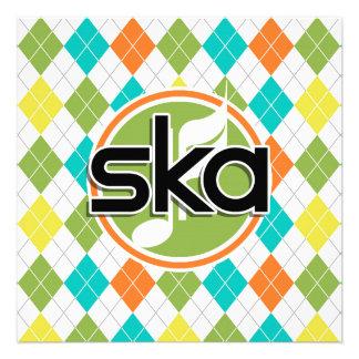 Ska Music; Colorful Argyle Pattern Invitations