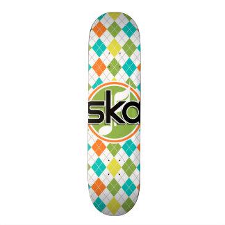 Ska Music; Colorful Argyle Pattern Skate Board Decks