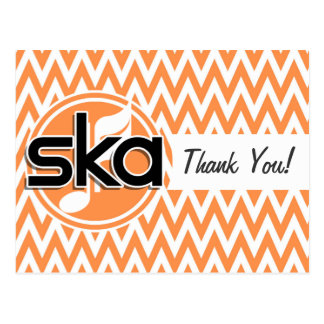 Ska; Orange and White Chevron Postcards