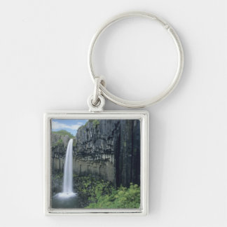 Skaftafell National Park, Svartifoss waterfall, Silver-Colored Square Key Ring