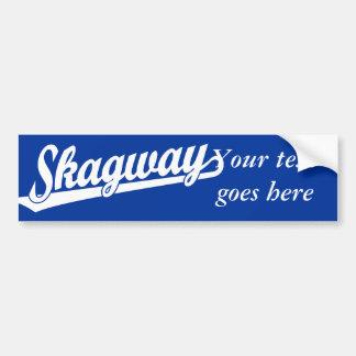 Skagway script logo in white car bumper sticker