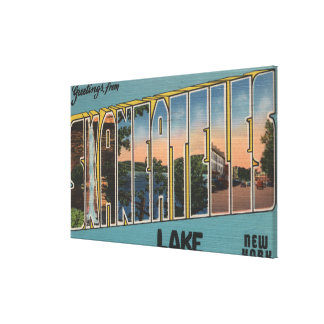 Skaneateles Lake, New York - Large Letter Scenes Stretched Canvas Prints