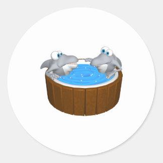 skarks in hot tub round sticker