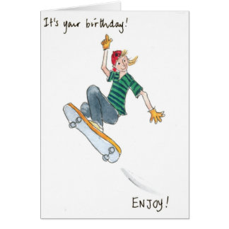 Skate-boarding Boy Birthday Card