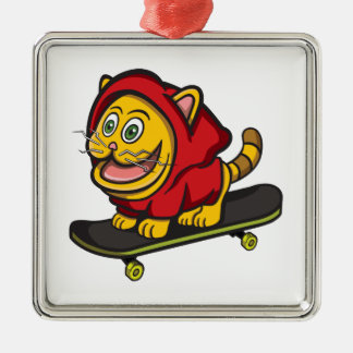 Skate Cat Christmas Ornament
