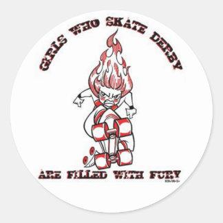 Skate Derby Round Sticker