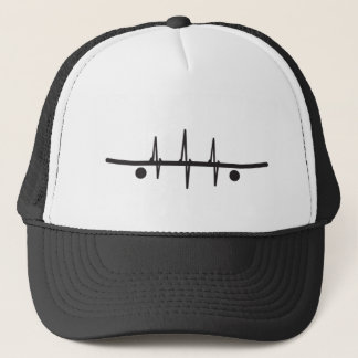 skate heartbeat trucker cap black white