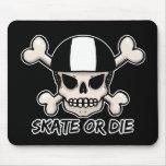 Skate or die skull and crossbones mouse pad