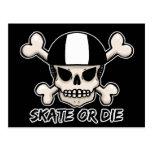 Skate or die skull and crossbones postcard