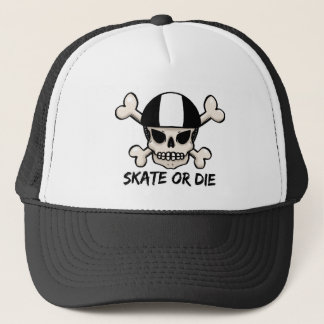 Skate or die skull and crossbones trucker hat