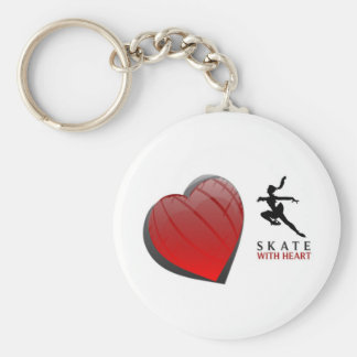 SKATE WITH HEART BASIC ROUND BUTTON KEY RING