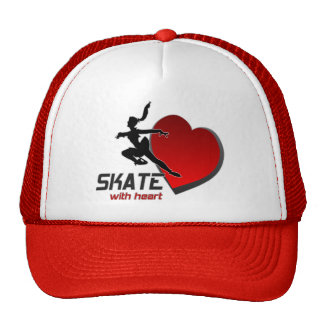 SKATE WITH HEART CAP MESH HATS