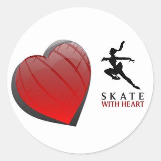 SKATE WITH HEART ROUND STICKER