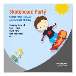 Skateboard Birthday Party Blue 13 Cm X 13 Cm Square Invitation Card