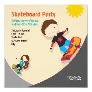 Skateboard Birthday Party Orange Neutral 13 Cm X 13 Cm Square Invitation Card