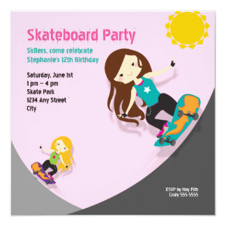 Skateboard Birthday Party Pink 13 Cm X 13 Cm Square Invitation Card