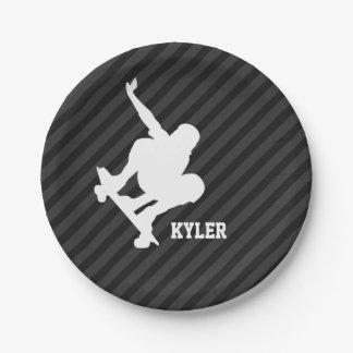 Skateboard; Black & Dark Gray Stripes 7 Inch Paper Plate