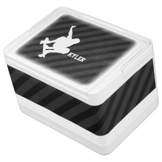 Skateboard; Black & Dark Gray Stripes Igloo Cooler