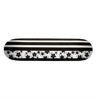 Skateboard Black White Stripe Flowers Skate Board