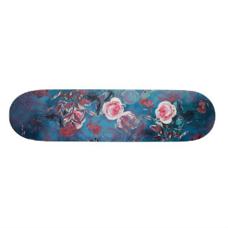 skateboard blue flowers