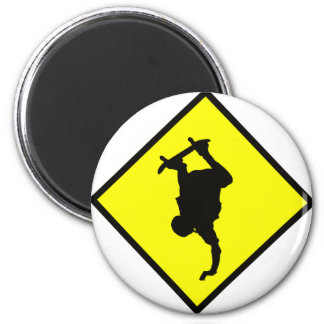 Skateboard Crossing Sign 6 Cm Round Magnet