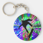 Skateboard Flip Out in Fireworks Basic Round Button Key Ring
