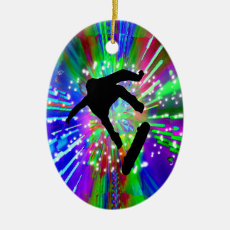 Skateboard Flip Out in Fireworks Christmas Ornament